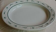 Longaberger Pottery Woven Traditions Large Oval Vegetable Serving Green Bowl