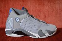 WORN 2X Nike Air Jordan 14 Retro Wolf Grey Sport Blue 487471-004 Size 9 Shoes
