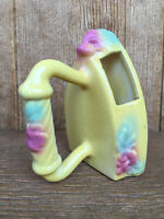 Vintage Hull Pottery Sunglow Clothes Iron Wall Pocket Vase Yellow Pink Flowers
