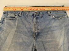 Mens Big/Tall Carhartt B480 LVB Traditional Fit 46X32 Blue Cotton Work Jeans