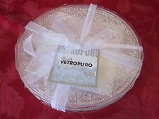 VETROPURO LACE  PEARL OPAL IRIDESCENT GLASS SALAD PLATES LUNCHEON SET OF 4 NEW