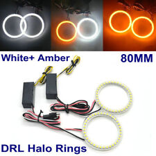 80MM LED HALO RINGS SMD White Amber Dual Color LED ANGEL EYES DRL Turning Signal