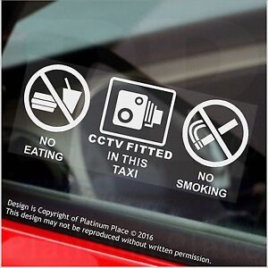2 x Warning Stickers CCTV Camera No Smoking Eating Car Taxi Window Reverse Signs