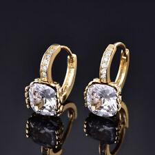 HUCHE Princess Round Diamond Crystal Gold Filled Lady Wedding Party Earring Stud