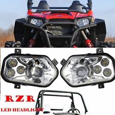 Chrome High/Low Beam LED Headlight Lamp For POLARIS RZR 800 RZR 900 XP 2011-2014