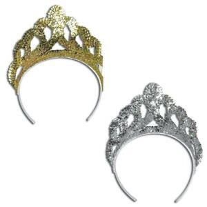 Gold or Silver Tiara Sequin Fancy Dress Princess Mermaid Plastic Crown