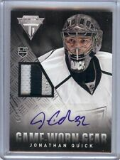 Jonathan Quick 2013-14 Panini Titanium 3 Color Patch Auto Kings #GA-JQ 10/10