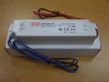 Fuente Alimentacion IP67,Tira LED 12VCC- 5,0A 60W,MEAN WELL,Transformador,Driver