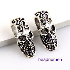10pcs Zinc alloy Skull charms big hole beads(7mm) 1B20