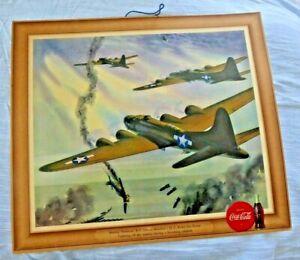 ORIGINAL VINTAGE LITHO POSTER COCA COLA US AIR FORCE PLANES B17 BOMBER 1943