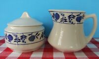 Shenango China Restaurant Ware Creamer & Sugar Bowl, Blue Onion Pattern.  NICE