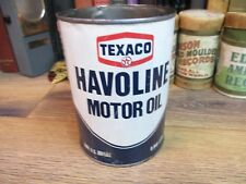 TEXACO HAVOLINE MOTOR OIL steel METAL CAN 1 QT tin SERVICE STATION GAS FILLING