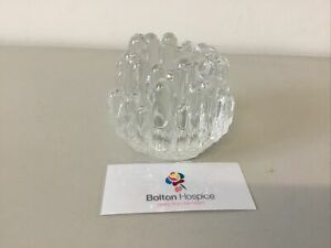 Vintage Clear Finger Glass sculpture Candle Holder #1531