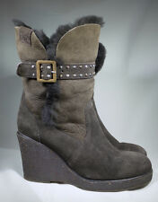 Taupe EMU Australia Heighton Lo W10145 Mid Calf Wedge Boot