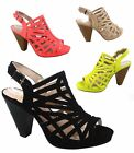 NEW Fashion Strappy Caged Kitten Chunky Heel Women's Sandal Shoes Size 5.5 - 11