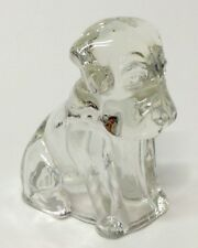 FEDERAL GLASS CLEAR GLASS MOPEY DOG POOCH CANDY CONTAINER