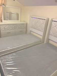 twin bed frame with headboard with mirror , TWO TWIN BED SET!