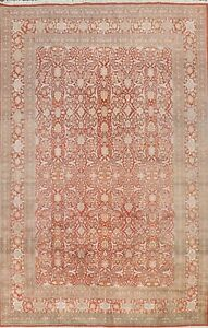 10'x14' Floral Tebriz Hand-knotted Area Rug All-Over Oriental Wool Large Carpet
