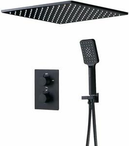 """16"""" 2-Function Thermostatic Shower System Square Rain Shower and Handheld Shower"""