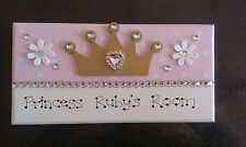 Handmade Personalised Princess Name Pink Girls Crown Room Door Gift Plaque Sign