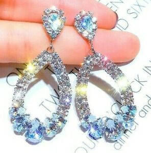 Womens Silver Long Drop Sparkling Crystal Rhinestone Waterdrop Earrings Boho UK