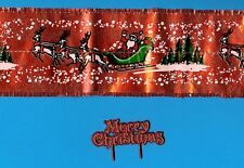 RED FOIL FRILL WITH SANTA & SLEIGH DESIGN & MERRY CHRISTMAS MOTTO Free 1st P&P