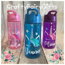 Personalised Kids Water Drink Bottle Straw 400ml POSH UNICORN holiday Party NEW