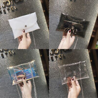 Ladies Transparent Handbag Shoulder Bag Clear Jelly Purse Clutch Plastic Tote
