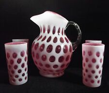 Fenton Art Glass Cranberry Opalescent Coin Dot Pitcher w/Ice Lip Plus 4 Tumblers