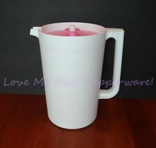 Tupperware Classic 1-Gallon Sheer Round Pitcher White w/Pink Seal Rare New
