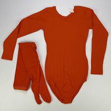 Vtg 70's Leotard Bodysuit Tights Orange Halloween Costume Size S Flaws Read