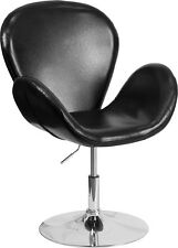 Retro Style Black Leather Accent Chair, Dinning Chair w/ Adjustable Seat Height