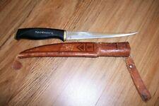 VINTAGE 1967 NORMARK FISKARS FINLAND FILET KNIFE WITH LEATHER SHEATH