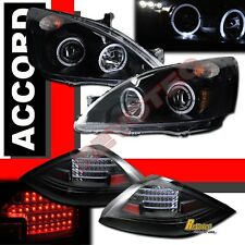 03-05 Honda Accord Coupe 2Dr Black Halo Projector Headlights + LED Tail Lights