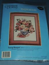 CANDAMAR DESIGNS TEACUP BOUQUET EMBROIDERY KIT 80250 14 X 18 FLORAL ROSES