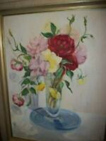 1950s ROSES FLORAL OIL PAINTING UNIQUE WOOD FRAME SIGNED VINTAGE MID CENTURY