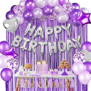 Happy Birthday Party Decorations & Balloon Set - Sparkling Purple Parties