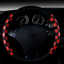 """15"""" 38cm Black Red Grid Odorless Eco Leather Auto Car Steering Wheel Cover Rim"""