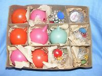 Vintage Box Old Glass Christmas Tree Decoration Ornament Baubles Hand Painted