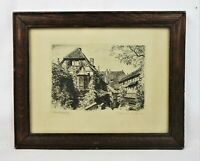 Antique German Etching Print of Wartburghof Signed Max Bruckner