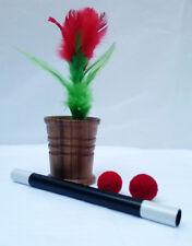 Wood Chop Cup Metal Wand To Feather Flower Magic Trick Set 2 Blue Crochet Balls