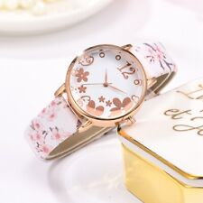 Ladies Flower Blossom Rose Gold Floral Leather Strap Wrist Watch Women's Gift