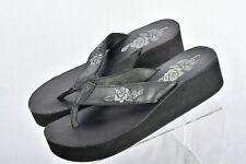 Flojos Womens Black Leather Wedges Sandal Size 9.5