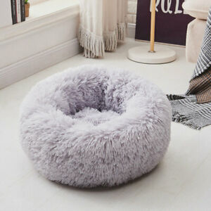 Luxury Small Grey Warm Fluffy Pet Bed Dog Puppy Kitten Fur Donut Cushion Mat