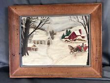 Vtg Painting Snow Winter Scene Church Sleigh Primitive Naive Horse Art Framed