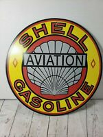 "Shell Aviation Gasoline Sign of the Times 12"" Hanging Round Vintage Metal Sign"