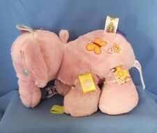 TAGGIES TAG 'N PLAY Pink Elephant Baby Security Toy Rattle Plush 10 Inches