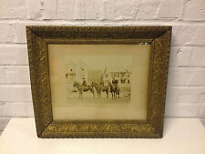 Antique Framed Sepia Photograph of 3 Men 1 on Horse 2 on Donkeys in Front Houses