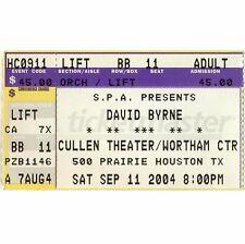 David Byrne & Sam Phillips Concert Ticket Stub Houston Tx 9/11/04 Talking Heads