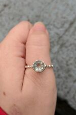 Genuine Green Fluorite Solitaire Ring Solid Sterling Silver 2.20 Carats Size 6.0